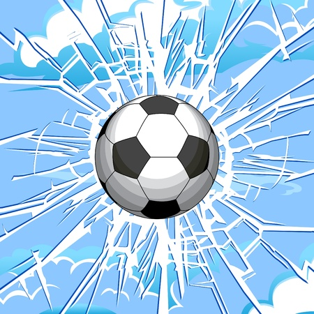 Soccer ball and a crack on the glass. Vector