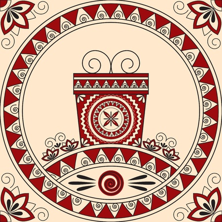 Card with a gift and patterns in ethnic style. Illustration