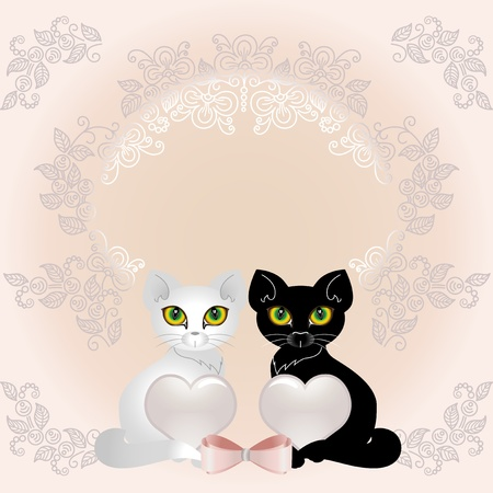 Black and white cat holding two hearts. Background for wedding cards. Illustration