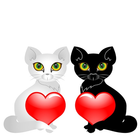 Black and white cat holding two hearts. Vector