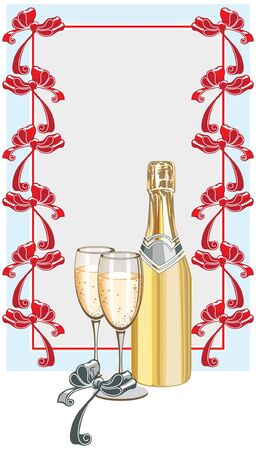 Champagne and a sheet for congratulations with festive bows. Stock Vector - 11650795