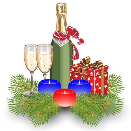 Candles on fir trees. Two glasses of champagne. Gift Box. Christmas.