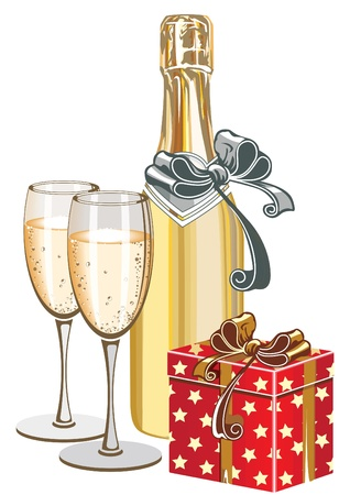 christmas drink: Festive still life with champagne and gift box. Illustration
