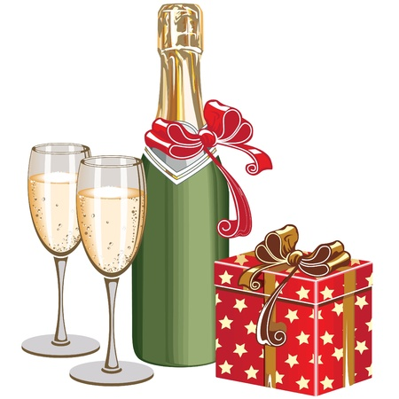 Festive still life with champagne and gift box. Vector