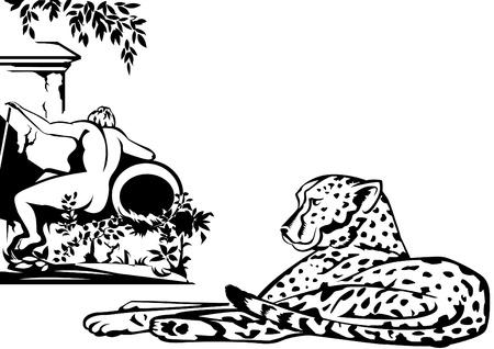 lies: Majestic cheetah lies near the ancient statues. Illustration