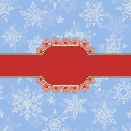 Christmas banner  in the blue background of the snowflakes. Vector