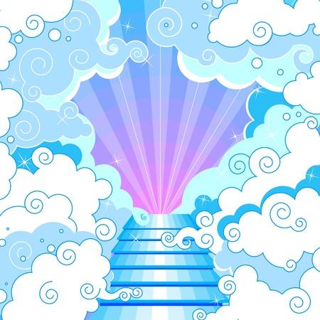 Schody do nebe v oblacích. Ilustrace