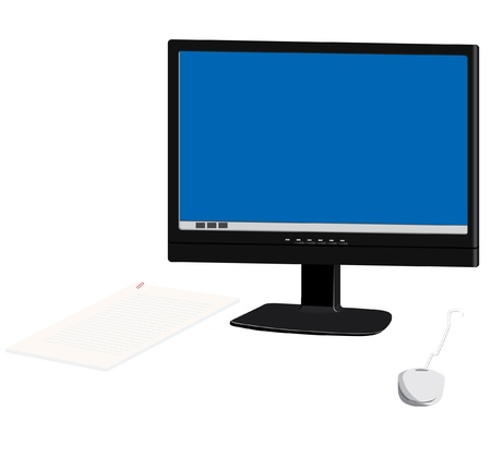 The monitor, the computer mouse and paper pile on a white background. Illustration