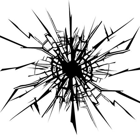 vidrio roto: Las grietas en el vidrio.