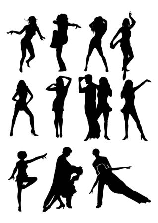 tangoing: Group of dancing people. Silhouettes. Illustration