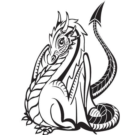 Dobrý drak. Černý a bílý obraz. Ilustrace