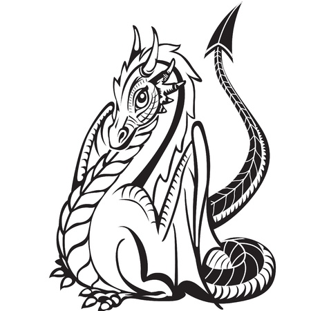 Good dragon. Black and white image. Illustration