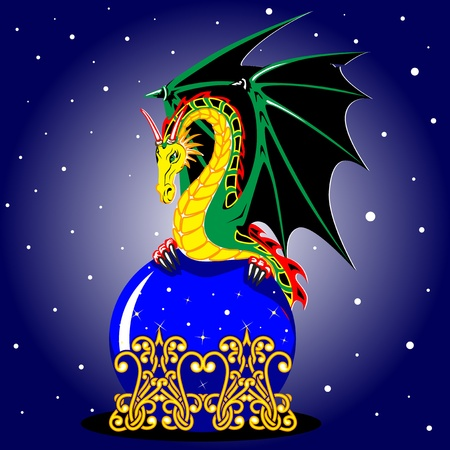 A dragon with wings unfurled sits on a blue glass bowl. The snow. Vector