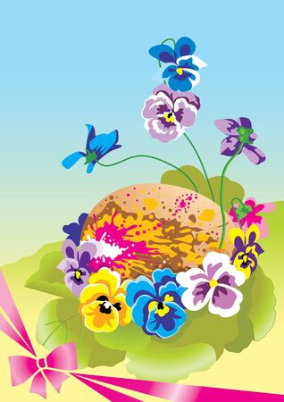 Easter. Painted eggs among flowers. Illustration