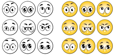 A set of individuals expressing various emotions. Vector
