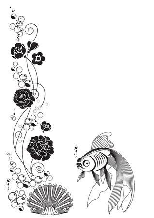 Marine fantasy. Flower decoration and swimming fish. Can be repainted in any color. Vector