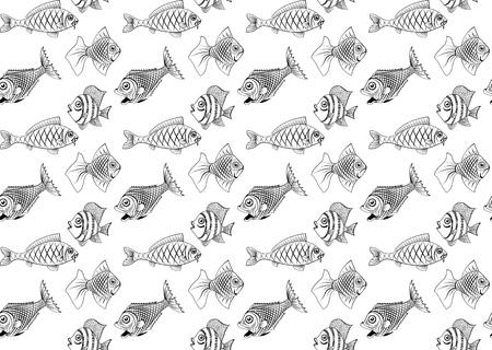 large group of animals: Diferentes tipos de peces. Sin problemas. Se puede pintar de cualquier color. Vectores