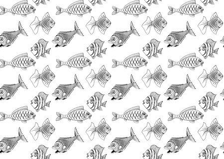 Different kinds of fish. Seamless. You can repaint any color.  Vector