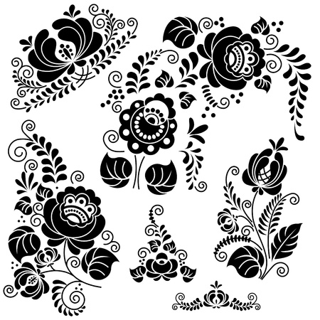 Floral ornament hand made. Vector image.