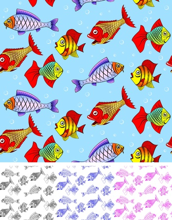 Different kinds of fish. Seamless. You can repaint any color. You can repaint any color. photo