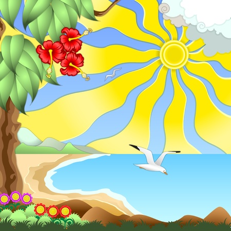 Seascape - sea, sun, sand dunes, exotic plants. Fly over the sea gulls. Vector