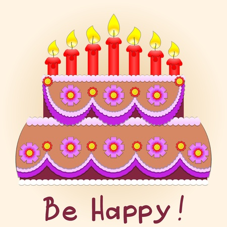 birthday cakes: Applique. Birthday cake and seven red candles. Illustration