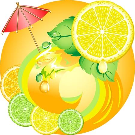 Citrus ecology concept. Fresh fruits and juices. Lemon, orange and lime.