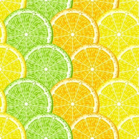 Slices of lemon, orange and lime. Seamless. Background. Vector