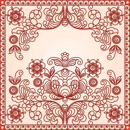 Stylized floral design. Vintage frame. Vector