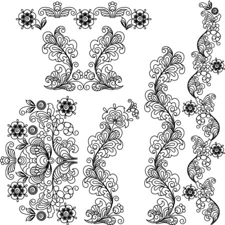 Stylized floral design. A set of borders and the elements. Vector