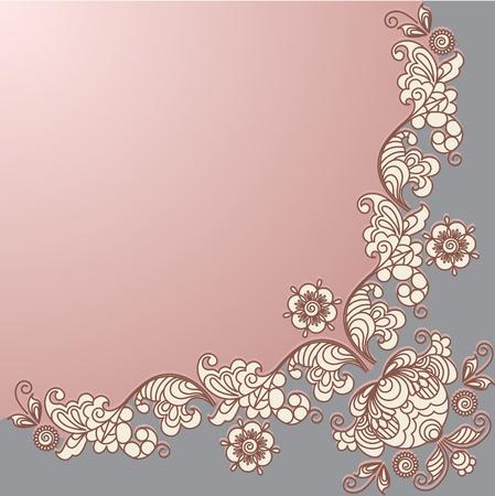 Stylized floral design. Vintage frame.