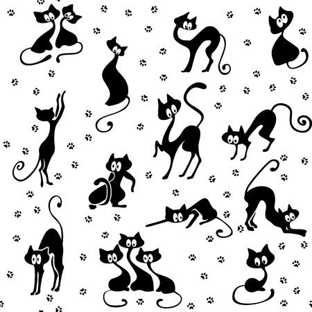 Mnoho černých koček v různých pózách. Jejich stopy. Seamless.