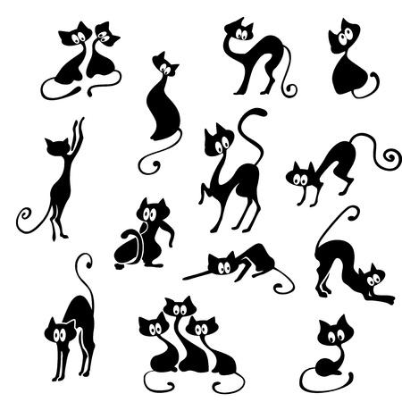 Um monte de gatos pretos em várias poses.
