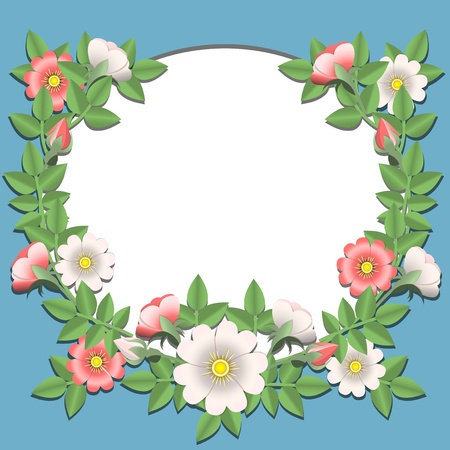 Applique. Paper flowers glued to a paper frame. Vector