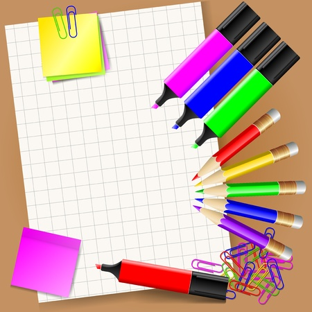 office stationery: Stationery set - paper, stickers, pencils, paper clips, markers.