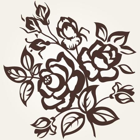 Floral designs. The branch of roses on a beige background. Vintage. Illustration