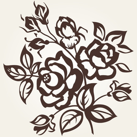 Květinové vzory. Větev růže na béžové pozadí. Vintage.