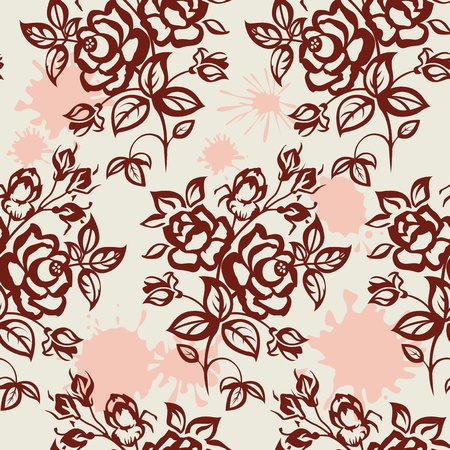 rose stem: Roses and blots. Vintage, seamless. Illustration
