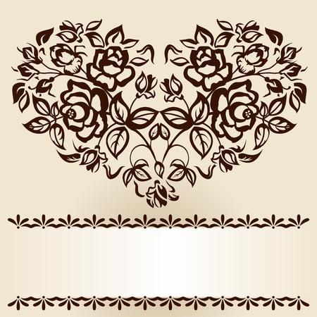 Pobočky růží ve tvaru srdce. Vintage.