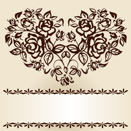 filigree background: The branches of roses in heart shape. Vintage.