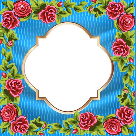 Frame of roses, bright stripes, a label with a gold rim. Stock Vector - 12464945