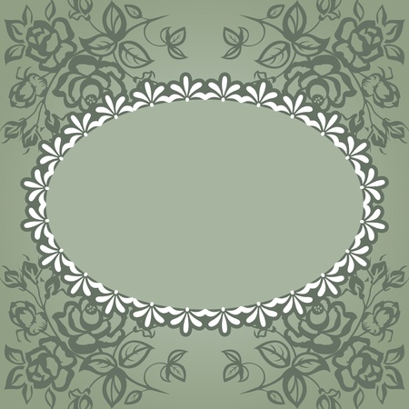 Vintage frame. Roses on a green background, lace. Illustration