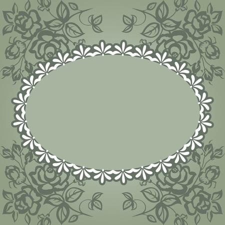 Vintage frame. Roses on a green background, lace. Illustration
