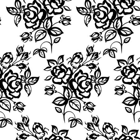Černobílý obraz. Růže, bezešvé.