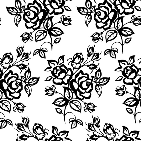 textile design: Black and white picture. Roses, seamless.