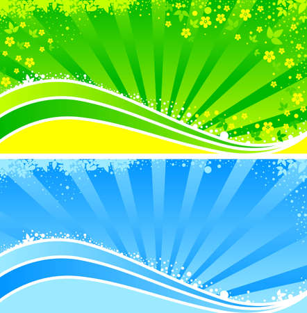 The banner  Abstract floral pattern, rays and tapes  Illustration
