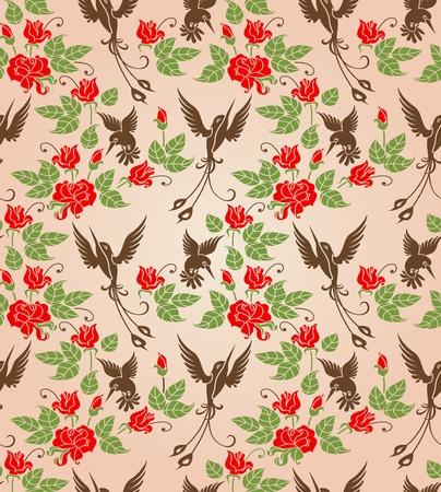 leafs: Rose arbustive e uccelli ornamento stilizzato Seamless