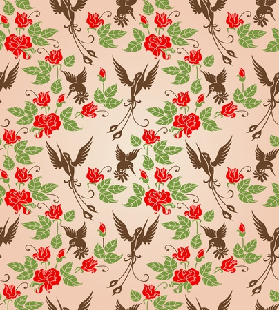 Shrub roses and birds  Stylized ornament  Seamless