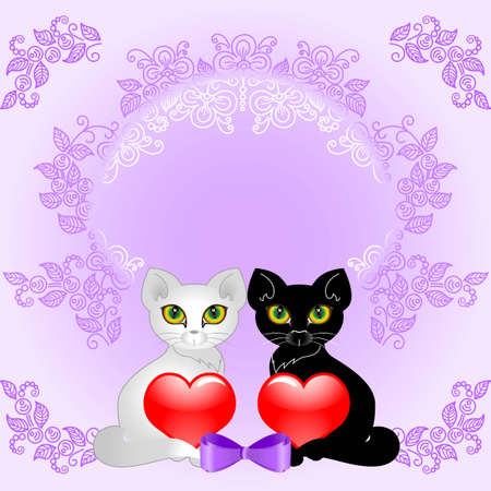 Black and white cat holding two hearts  Background for wedding cards  Vector