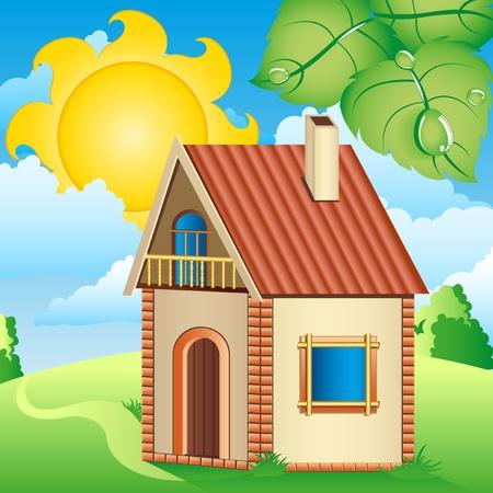 maison solaire: Maison de village dans le Soleil, les nuages, prairie feuilles vertes